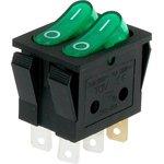 IRS-2101-3C3, Переключатель зеленый с подсветкой ON-OFF 6pin (250В 15А)