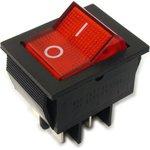 IRS-201-2B3 (красный), Переключатель с подсветкой ON-OFF (15A 250VAC) DPST 4P