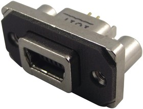 Фото 1/2 MUSBB55104, Разъем USB, Mini USB Типа B, USB 2.0, Гнездо, 5 вывод(-ов), Монтаж в Сквозное Отверстие