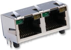 RJHSE-5385-02, Модульный разъем, Cat5, RJ45 Jack, 1 x 2 (Ganged), 8P8C, Cat5, Монтаж в Сквозное Отверстие
