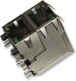 RJSAE538102, Модульный разъем, Cat5, Modular Jack, 2 x 1 (Stacked), 8P8C, Cat5, Монтаж в Сквозное Отверстие