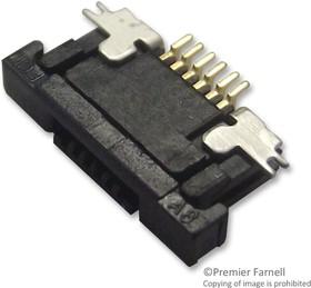 SFV6R-2STBE9HLF, FFC / FPC разъем, угловой, 0.5 мм, 6 контакт(-ов), Гнездо, FFC SFV Series, Пайка, Верх