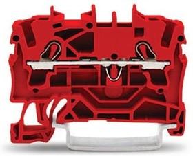 Фото 1/2 2-пров. проходная клемма, 0,25 - 2,5 (4) мм2, красная