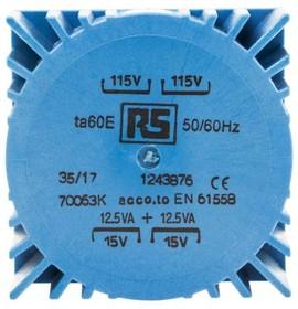 81831K, TOROIDAL TRANSFORMER 25VA 2 X 15V AC