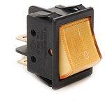 A14B1S11, Переключатель желтый с подсветкой ON-OFF (15A/250VAC) 4P