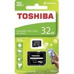 Фото 2/2 Карта памяти microSDXC UHS-I TOSHIBA M203 32 ГБ, 100 МБ/с, Class 10, THN-M203K0320EA, 1 шт., переходник SD