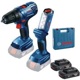 GSR 180-LI + GLI 18V-300, В комплект входит аккумуляторный шуруповерт GSR 180-LI, фонарь GLI 18V-300, 2 аккумулятора 1.5 А*ч,