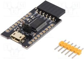 Фото 1/3 DF-DFR0065, Коммуникационный, RS232, 3,3-5ВDC, IC FT232RL, USB,штыревой