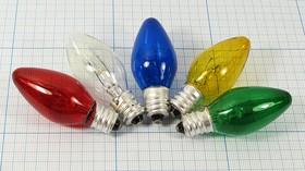 Лампа накаливания для гирлянд и ночников 220В/10Вт, прозрачная 5840 Л 220В\E12\ 10Вт\\\22x55\ЛН\\