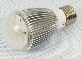 Лампа светодиодная с радиатором и рассеивателем, (50x107)мм, 8044 Л 220В\E27\ 3Вт\бел\300лм\50x107\СД\