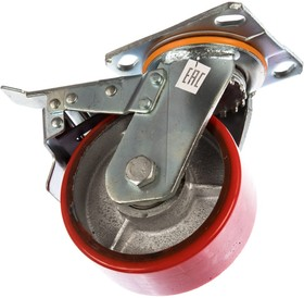 Фото 1/2 Большегрузное колесо с полиуретановой шинкой С-4102-DUS поворотное, с тормозом, г/п 600 к 00018526