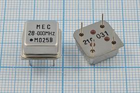 Фото 1/2 Кварцевый генератор 28МГц 3.3В, HCMOS/TTL в корпусе HALF=DIL8, гк 28000 \\HALF\T/CM\ 3,3В\MO-25B\MEC