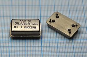 Кварцевый генератор 28.63636МГц 5В, TTL в корпусе FULL=DIL14, выпаяны, гк 28636,36 \\FULL\TTL\5В\ KXO-01\KYOCERA бу