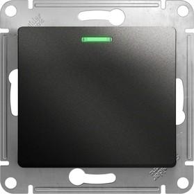GLOSSA Выключатель одноклавишный с подсветкой схема 1а антрацит в рамку