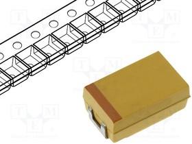 TPSD107K010R0080, Cap Tant Solid 100uF 10V D CASE 10% (7.3 X 4.3 X 2.9mm) Inward L SMD 7343-31 0.08 Ohm 125°C T/R