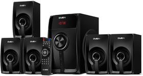 SVEN HT-202, черный, акустическая система 5.1 (мощность (RMS):20Вт+5x16Вт, Bluetooth, FM-тюнер, USB/SD, дисплей, пульт ДУ), SVEN HT-202, чер