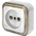 Розетка о/п б/з 1-местная серия Palazzo Vintage, белое золото патина 26432 3