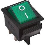 IRS-201-1A3 (зеленый), Переключатель с подсветкой ON-OFF (15A 250VAC) DPST 4P