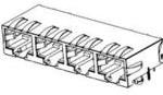 0445600014, Conn RJ-45 F 32 POS 2.54mm Solder RA Thru-Hole 32 Terminal 4 Port Modular Jack 8/8, RJ45 Cat 5e Tray