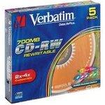 Оптический диск CD-RW VERBATIM 700Мб 12x, 5шт., slim case, разноцветные [43167]