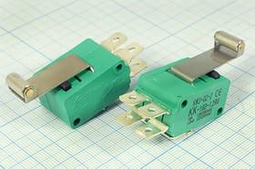 Фото 1/2 Микропереключатель на две группы контактов 220В/16А, рычаг 26мм с роликом , 10201 ПКонц 29x20 x16\220\16\ON-(ON) \\L26рол\MSW-07\