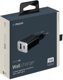 Фото 1/2 11386, Зарядное устройство Deppa CЗУ USB + USB Type-C 3.4А, черный, Deppa