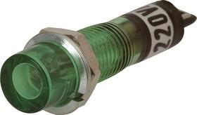 KLS9-ILS-M7-01A-N1-G (N-814G), Лампа неоновая с держателем зеленая 220V