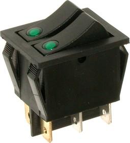IRS-2101E-1C, Переключатель зеленый ON-OFF 6pin (250В 15А)