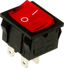 Фото 1/2 MIRS-201A-4C3 (красный), Переключатель с подсветкой ON-OFF (10A 125VAC, 6A 250VAC, 15A 12VDC) DPST 4P