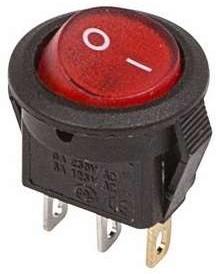 Выключатель клавишный круглый 250А 3А (3с) ON-OFF красн. с подсветкой Micro (RWB-106 SC-214) REXANT 36-2530