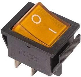 Выключатель клавишный 250В 16А (4с) ON-OFF желт. с подсветкой (RWB-502 SC-767 IRS-201-1) Rexant 36-2333