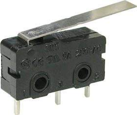 Фото 1/2 SM5-03P-28G (KLS7-KW4-3Z-A13211L4), Микропереключатель с лапкой (5A 125VAC)