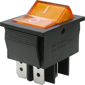 Фото 1/2 IRS-201-2B3 (желтый), Переключатель с подсветкой ON-OFF (15A 250VAC) DPST 4P