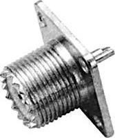 HYR-0608 (GU-608) (UHF-7511K) (UHF-BJ) (U-245), Разъем UHF, гнездо, фланец 4 отверстия (Panel jack)
