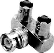 HYR-0170 (BNC-7088) (GB-170), Переходник, BNC штекер - 2 гнезда 90° BNC
