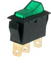 IRS-1-3B, Переключатель зеленый с подсветкой ON-OFF (10A 250VAC) SPST 3P