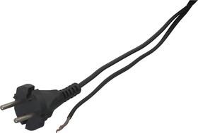 Шнур 1.7м с вилкой (S18) ШВВП-ВП 2x0.5мм (черный)