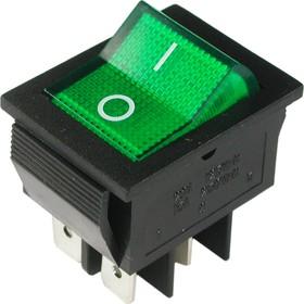 IRS-201-2B3 (зеленый), Переключатель с подсветкой ON-OFF (15A 250VAC) DPST 4P