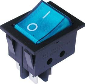 Фото 1/2 IRS-201-3C3 (синий), Переключатель с подсветкой ON-OFF (15A 250VAC) DPST 4P