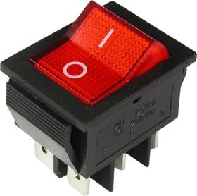 IRS-202-2B3 (красный), Переключатель с подсветкой ON-ON (15A 250VAC) DPDT 6P