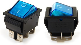 IRS-202-1A3 синий, Переключатель с подсветкой ON-ON (15A 250VAC) DPDT 6P