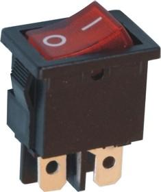 MIRS-201-C3 (красный), Переключатель с подсветкой ON-OFF (6A 125VAC, 3A 250VAC, 15A 12VDC) DPST 4P