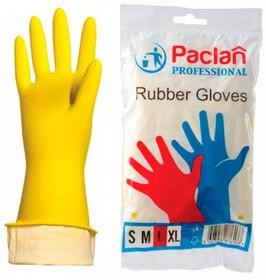 Перчатки хоз латекс, х/б напыление, размер L , желтые, Professional 602490