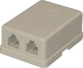 SS308 ( TJC-6P4Cх2) (KLS12-186-6P4C-I-01), Розетка телефонная на стену, 2 гнезда RJ-14