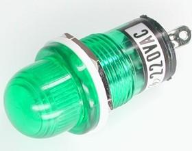 N-809G, Лампа неоновая с держателем зеленая 220V