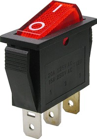 Фото 1/2 IRS-101-1A3 (красный), Переключатель с подсветкой ON-OFF (15A 250VAC) SPST 3P
