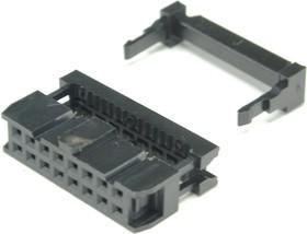 Фото 1/2 IDC-16F (DS1016-16), Розетка 2.54мм на шлейф 16 pin с фиксатором кабеля