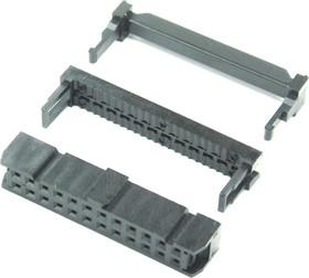 Фото 1/2 IDC-24F (DS1016-24), Розетка 2.54мм на шлейф 24 pin с фиксатором кабеля