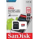 Фото 5/5 Карта памяти microSDXC UHS-I SANDISK Ultra 256 ГБ, 100 МБ/с, Class 10, SDSQUAR-256G-GN6MA, 1 шт., переходник SD