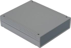 Фото 1/3 G763, Корпус для РЭА 156х180х36 мм, пластик, светло-серый, темно-серая панель